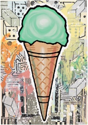 """Green Cone"" (2007) by Donald Baechler"