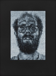 """Self Portrait/Spitbite/White on Black"" (1997) by Chuck Close"