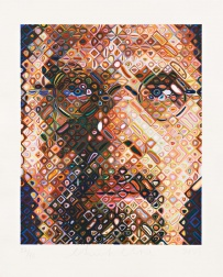"""Self-Portrait Woodcut"" (2009) by Chuck Close"