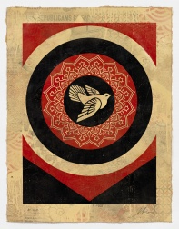"""Dove Target Black, HPM"" (2012) by Shepard Fairey"