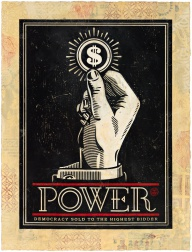 """Power Bidder, HPM"" (2015) by Shepard Fairey"