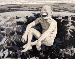 """The Grassland Series Screenprint 1 (Sitting Man Laughing)"" by Yue Minjun"