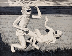 """The Grassland Series Screenprint 2 (Two Men in Field)"" (2008) by Yue Minjun"