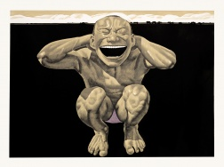 """The Grassland Series Woodcut 2 (Crouching Man)"" (2008) by Yue Minjun"