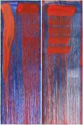 """Diptych B (Red)"" by Pat Steir"