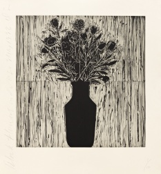"""Black Flowers and Vase"" (1993) by Donald Sultan"