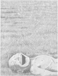 """The Grassland Series Screenprint 3 (Lying Head Laughing)"" (2008) by Yue Minjun"