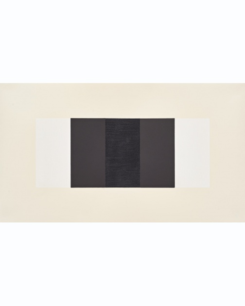 """Untitled (Band) (White, Black, Black)"" (2019) by Mary Corse"