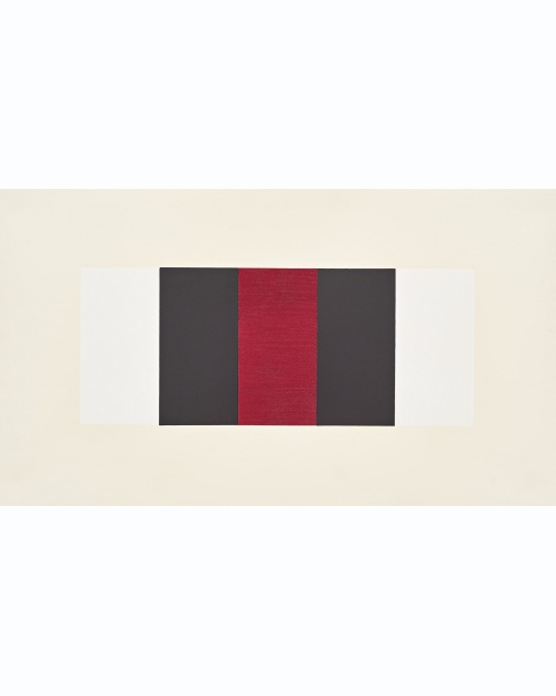 """Untitled (Band) (White, Black, Red)"" (2019) by Mary Corse"