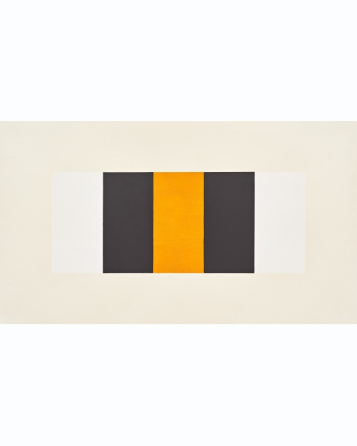 """Untitled (Band) (White, Black, Yellow)"" (2019) by Mary Corse"