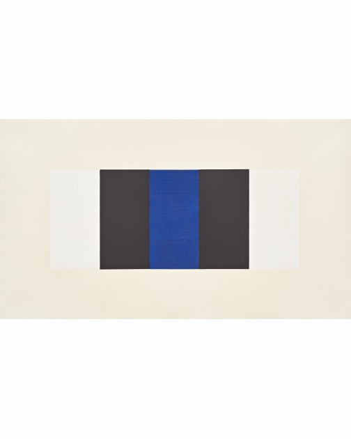 """Untitled (Band) (White, Black, Blue)"" (2019) by Mary Corse"