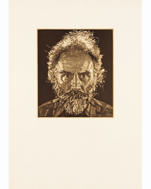 """Lucas"" (1988) by Chuck Close"