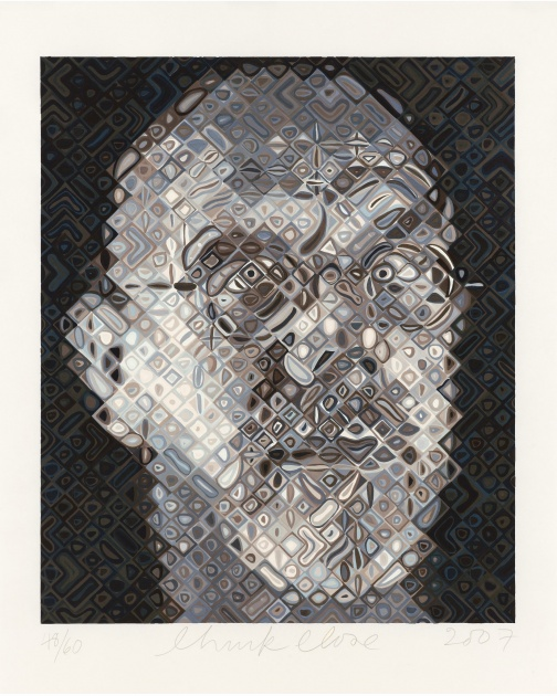 """Self-Portrait Woodcut"" (2007) by Chuck Close"