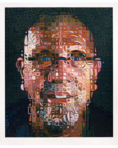 """Self-Portrait Screenprint 2012"" (2012) by Chuck Close"