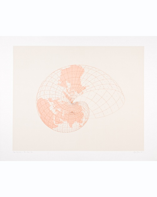 """Map Projection: The Snail"" (1976) by Agnes Denes"
