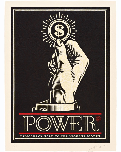 """Power Bidder"" (2015) by Shepard Fairey"