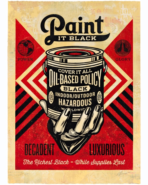 """Paint it Black (Hand), HPM"" (2015) by Shepard Fairey"