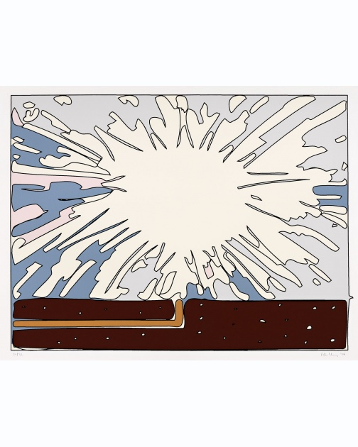"""Exploding Cell (In progress) E"" (1994) by Peter Halley"