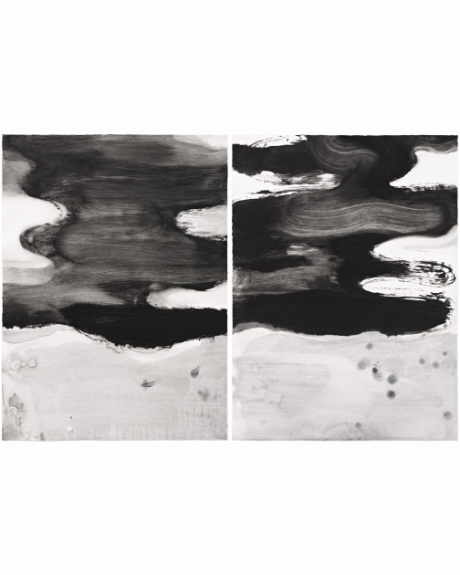 """Flowing Water 9 (Diptych)"" (2014) by Jian-Jun Zhang"