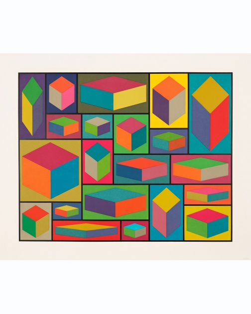 """Distorted Cubes (E)"" (2001) by Sol LeWitt"