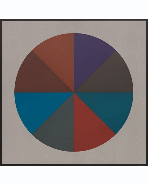 """Circles Divided into Eight Equal Parts with Colors Superimposed in Each Part (4 of 4)"" (1989) by Sol LeWitt"