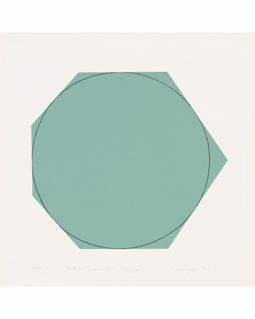 """Distorted Circle Within A Polygon (Green)"" (1973) by Robert Mangold"