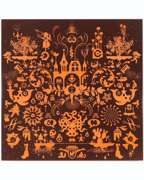 """Untitled (Porcelain-Baked Enamel, Orange)"" (2007) by Ryan McGinness"
