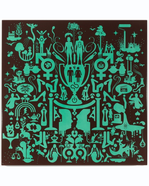 """Untitled (Porcelain-Baked Enamel, Green)"" (2007) by Ryan McGinness"