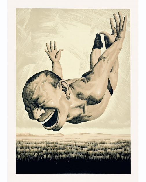 """The Grassland Series Woodcut 1 (Diving Figure)"" (2008) by Yue Minjun"