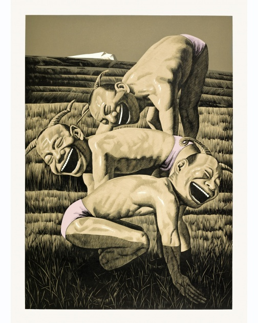 """The Grassland Series Woodcut 3 (Three Figures)"" (2008) by Yue Minjun"