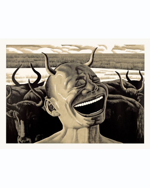 """The Grassland Series Woodcut 4 (Laughing Horns)"" (2008) by Yue Minjun"