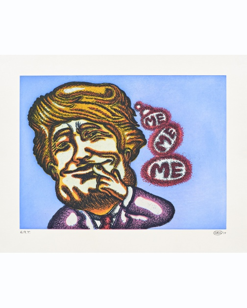 """Trump Thinks"" (2017) by Peter Saul"