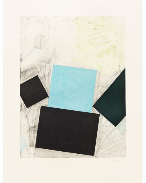 """Untitled (Blue square/with green)"" (1992) by Joel Shapiro"