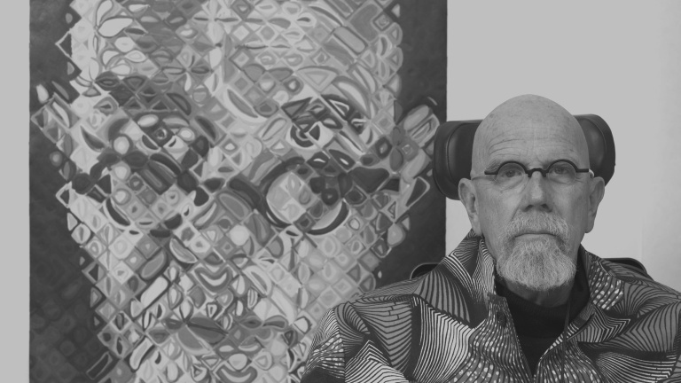 Chuck Close at Pace Editions, 2014.