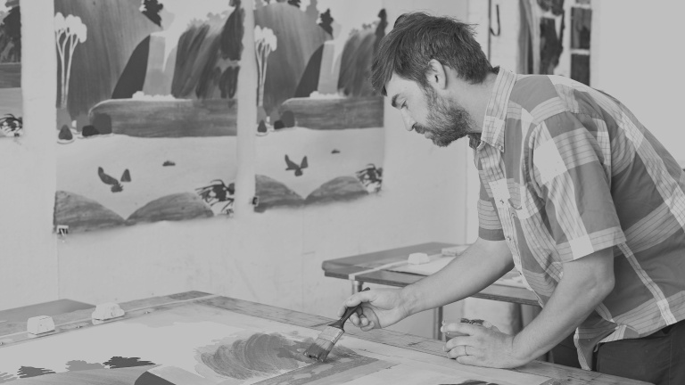 Daniel Heidkamp in the Pace Paper studio