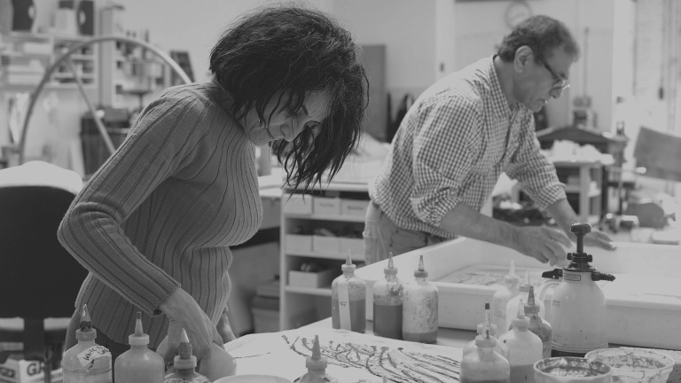 Ghada Amer and Reza Farkhondeh in the Pace Paper studio.