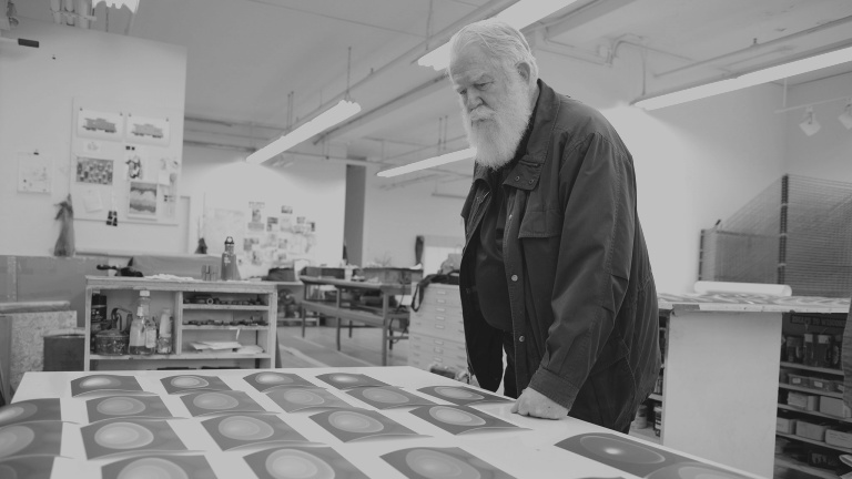 James Turrell at the Pace Editions printshop.