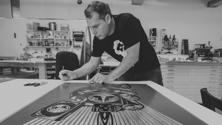 Shepard Fairey at the Pace Paper studio.