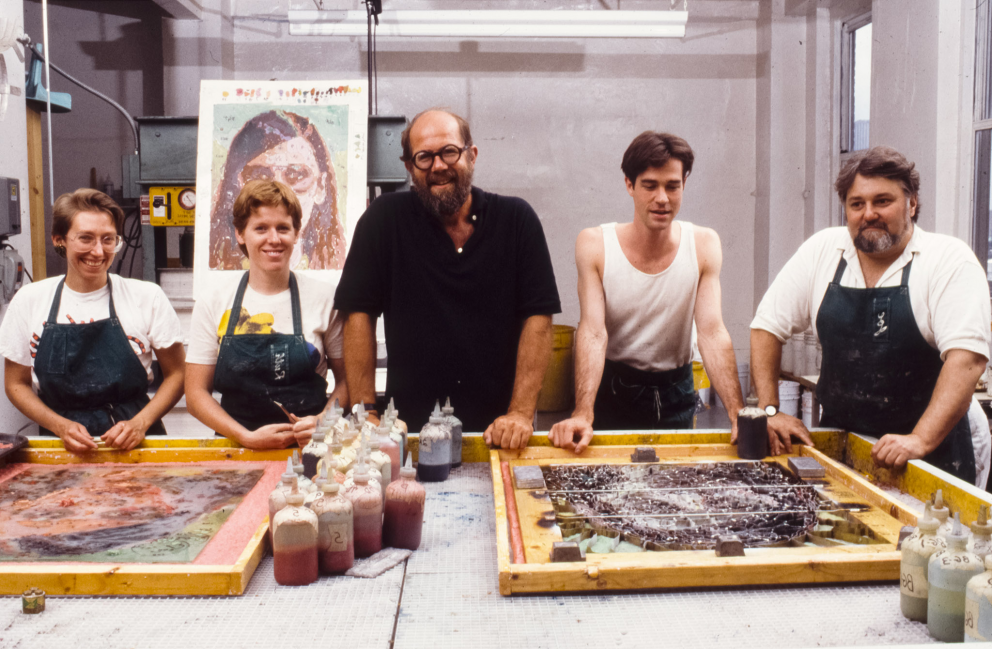 Chuck Close (center) with Kathy Kuehn, Ruth Lingen, Michael Herstand and Joe Wilfer (left to right) circa 1988
