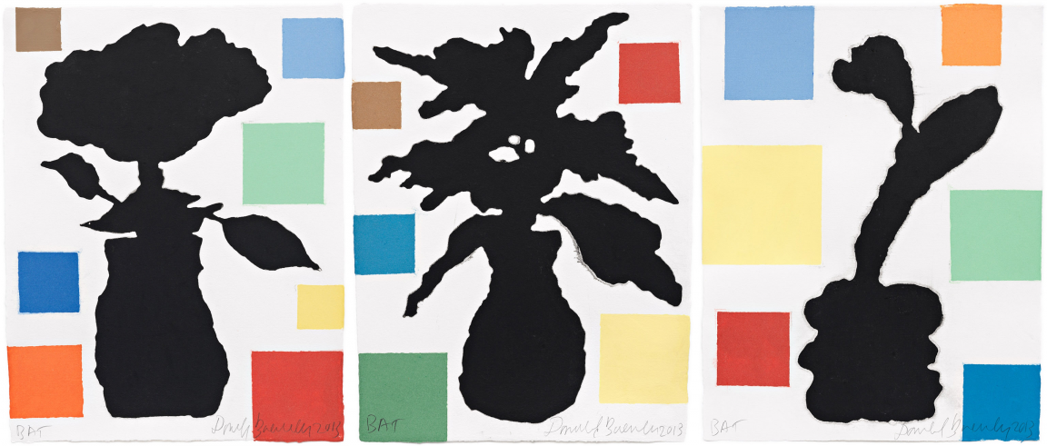 """Abstract Composition with Flower, I, II, and III"" by Donald Baechler"