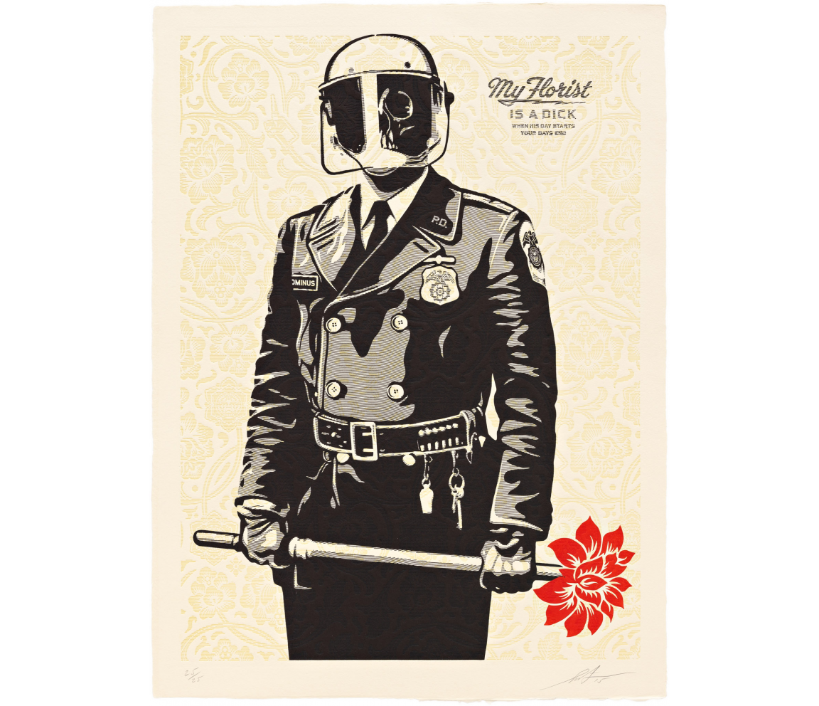 """My Florist is a Dick"" (2015) by Shepard Fairey"